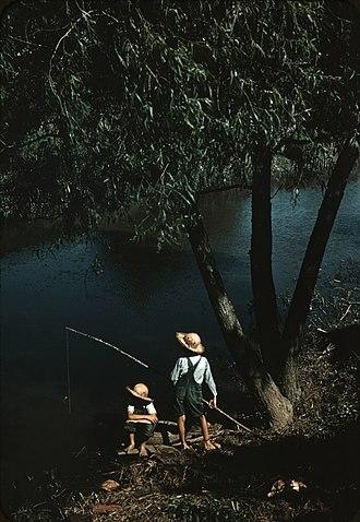 Schriever, Louisiana - Children fishing in bayou at Schriever, 1940.  Photo by Marion Post Wolcott.
