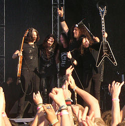 I Testament in Svezia nel 2008; da sinistra Alex Skolnick, Greg Christian, Paul Bostaph, Chuck Billy e Eric Peterson