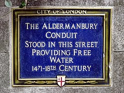 Photo of Aldermanbury Conduit blue plaque