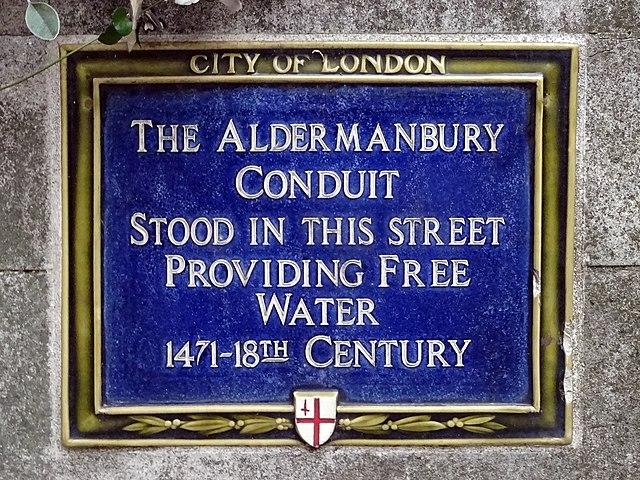 Photo of Aldermanbury Conduit blue plaque