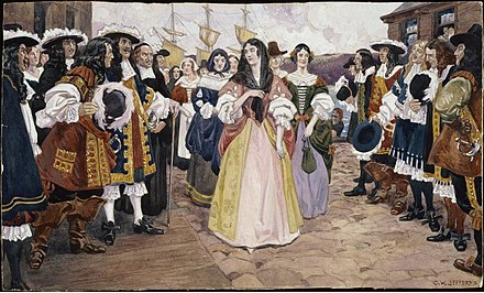 One group of King's Daughters arrives at Quebec, 1667 The Arrival of the French Girls at Quebec, 1667 - C.W. Jefferys.jpg