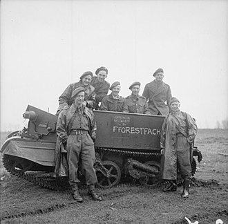Monmouthshire Regiment - Men of the carrier platoon of the 3rd Battalion, Monmouthshire Regiment, part of 159th Infantry Brigade of the 11th Armoured Division, February 1945.