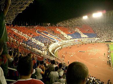 Torcida fans decorating the stands of Poljud stadium during the Eternal Derby. The Hajduk Split - Dinamo Zagreb derby.jpg