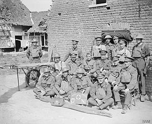 West Somerset Yeomanry - Troops of the 230th Field Ambulance, RAMC and the 12th (West Somerset Yeomanry) Battalion, Somerset Light Infantry, 74th Yeomanry Division at the Regimental Aid Post. Near Carvin, France, 14 August 1918.