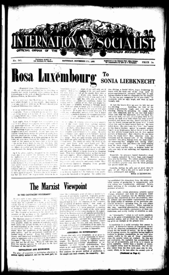 The International Socialist (newspaper) - Image from the front page of 27 November 1920 issue with a letter written by Rosa Luxemburg.