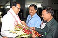 The Minister of State for Information and Broadcasting, Shri Choudhury Mohan Jatua being received by the officials of Doordarshan, on her arrival at LGBI Airport, in Guwahati on July 12, 2010.jpg