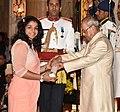 The President, Shri Pranab Mukherjee presenting the Padma Shri Award to Ms. Sakshi Malik, at the Civil Investiture Ceremony, at Rashtrapati Bhavan, in New Delhi on April 13, 2017.jpg