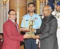 The President, Shri Ram Nath Kovind presenting the Arjuna Award, 2017 to Shri P.N. Prakash for Shooting, in a glittering ceremony, at Rashtrapati Bhavan, in New Delhi on August 29, 2017.jpg
