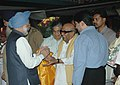 The Prime Minister, Dr. .Manmohan Singh being received by the Chief Minister of Tamil Nadu, Dr. M. Karunanidhi at Meenambakkam Airport, Chennai on November 03, 2006.jpg