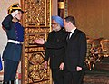 The Prime Minister, Dr. Manmohan Singh being welcomed by the President of the Russian Federation, Mr. Dmitry A. Medvedev, in Moscow, Russia on December 16, 2011.jpg