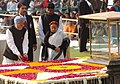 The Prime Minister, Dr. Manmohan Singh paying floral tributes at the Samadhi of Mahatma Gandhi on the occasion of Martyr's Day at Rajghat in Delhi on January 30, 2007.jpg