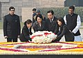 The Prime Minister of Japan, Mr. Yoshihiko Noda and his wife Mrs. Hitomi Noda laying wreath at the Samadhi of Mahatma Gandhi, at Rajghat, in Delhi on December 28, 2011.jpg