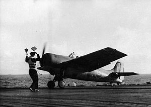 811 Naval Air Squadron - A Grumman Martlet fighter of 811 Squadron lands on HMS Biter after a successful action against a German Junkers Ju 290, February 1944.