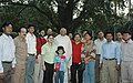 The Speaker, Lok Sabha, Shri Somnath Chatterjee with the Members of the theatre group Spandan, IPTA, before leaving for Lahore, Pakistan to represent India in the 'Performing and Visual Arts Festival - 2006', in New Delhi.jpg