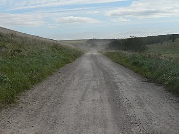 English: The dust settles The dusty road from ...