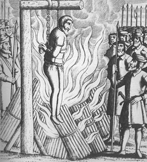 George Wishart - A woodcut portraying the martyrdom of Wishart