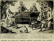 Ein fiktives Konzert, angeblich mit: Domenico Scarlatti, Tartini, (Sam)Martini, Lanzetti und Locatelli (Quelle: Wikimedia)