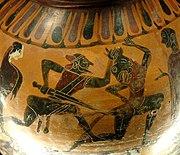 Tezej i Minotaur, atička amfora, 6. stoljeće p.n.e.