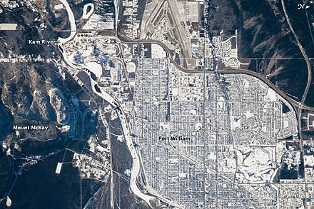 Fort William as seen from the International Space Station, December 2008 Thunder Bay NASA.jpg