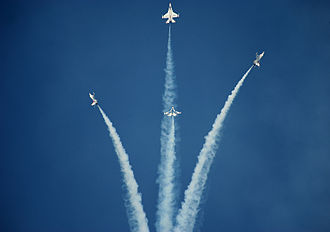 United States Air Force Thunderbirds - The Thunderbirds performing their signature bomb burst maneuver.