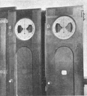 Time signal - These automatic signal clocks were synchronized by telegraphy in 1905 before the widespread use of radio