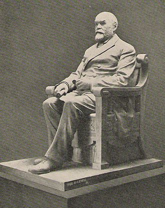 Timothy Eaton - This bronze statue of Eaton (photographed in 1919) sits in the Royal Ontario Museum in Toronto; its replica sits in the MTS Centre in Winnipeg
