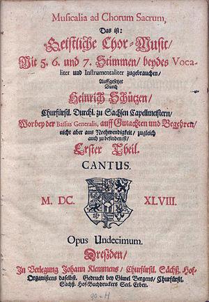 Geistliche Chormusik - Title page of Geistliche Chor-Music, 1648