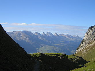Toggenburg - The Churfirsten (view from Alpstein with Toggenburg below)
