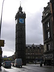 The Tolbooth Steeple dominates Glasgow Cross.