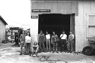 Black Diamond Equipment - Chouinard Equipment Company, Ventura, California, 1969. Left to right: Tom Frost, Dorene Frost, Tony Jessen, Dennis Henneck, Terry King, Yvon Chouinard, Merle, and Davey Agnew.
