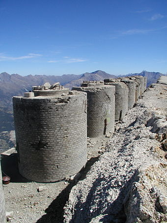 Several of the destroyed artillery turrets of Fort Chaberton. Torri dello Chaberton.JPG