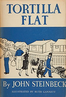 Book cover design depicting several male workers, a woman in a dress, and several dogs of different breeds on a neighborhood street