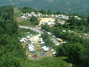 Spectator camps in 2005 at stage 14 to the Ax 3 Domaines ski station.