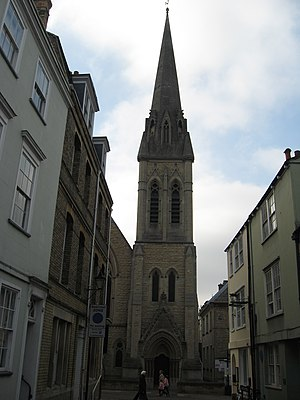 Wesley Memorial Church, Oxford - Image: Tower of Wesley Memorial Methodist Church, Oxford geograph.org.uk 1705860