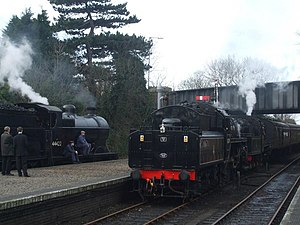 English: Train comes into Sheringham with frei...