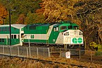 Trainspotting GO train -444 headed by MPI MP-40PH-3C -606 & banked by EMD F59PH -558 (8123584528).jpg