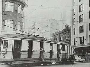 Park Street, Sydney - Tram on the corner of Pitt and Park Streets, 1950