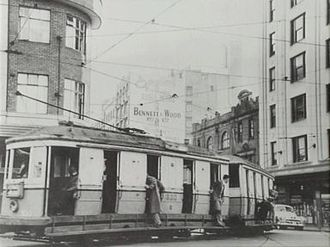 Park Street, Sydney - Tram on the corner of Pitt and Park Streets, 1950