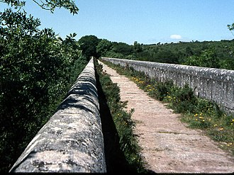 Treffry Tramways - The original 1847 line of the Pontsmill to Bugle tramway passed across the Treffry Viaduct, seen here in 1979.