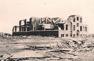 Tri-State Tornado - Ruins of the Longfellow School, Murphysboro, Illinois, where 17 children were killed. The storm hit the school at about 2:30 pm