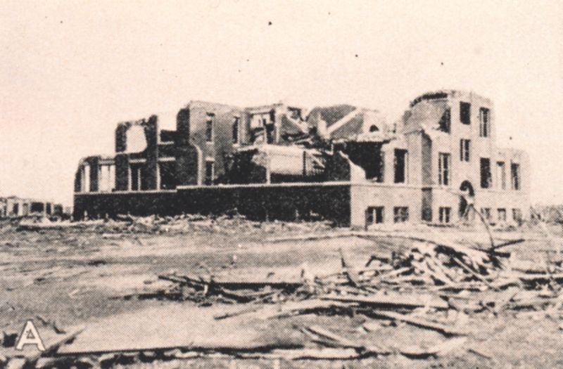Ruins of the Longfellow School, Murphysboro, Illinois, where 17 children were killed. The storm hit the school at about 2:30 pm