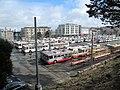 Trolleybuses at Presidio Division from Masonic Avenue, November 2017.JPG