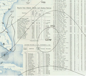 1940 Atlantic hurricane season - A tropical depression off the east coast of Florida on October 14