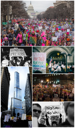 Protests against Donald Trump. TrumpProtestCL17.png
