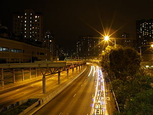 Tuen Mun Road near Kam Hing Building looking south at night