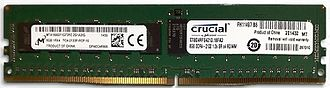Dynamic random-access memory - Two 8 GB DDR4-2133 288-pin ECC 1.2 V RDIMMs
