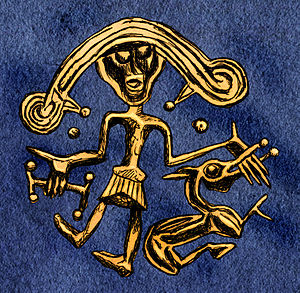 Týr - Drawing of Týr and Fenrir from the Migration Period golden bracteate from Trollhättan, Sweden.