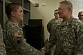 U.S. Army Gen. Frank J. Grass, right, the chief of the National Guard Bureau, speaks with Spc. Christian Gill while visiting Oklahoma Army and Air National Guardsmen May 28, 2013, at the Armed Forces Reserve 130528-Z-RH707-106.jpg