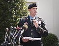 U.S. Army Staff Sgt. Ty Michael Carter delivers a statement to members of the media after receiving a Medal of Honor from President Barack Obama at the White House in Washington, D.C., Aug. 26, 2013 130826-A-AJ780-011.jpg
