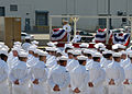 U.S. Navy Capt. Vernon Parks, on podium, gives his remarks as the guest speaker during the Los Angeles-class attack submarine USS Alexandria (SSN 757) change of command ceremony Aug. 1, 2013, at Naval Submarine 130801-N-TN558-072.jpg
